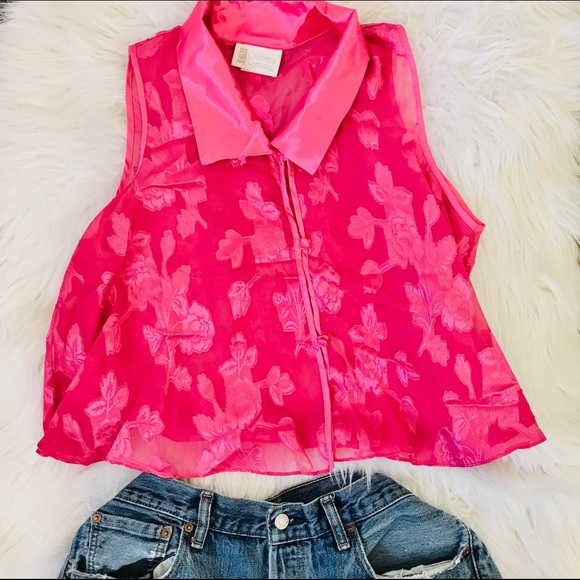 Vintage Tops - Vintage Sheer Pink Sleeveless Satin Crop Top